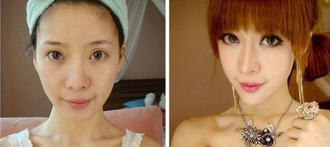 Ugly girl with makeup before and after