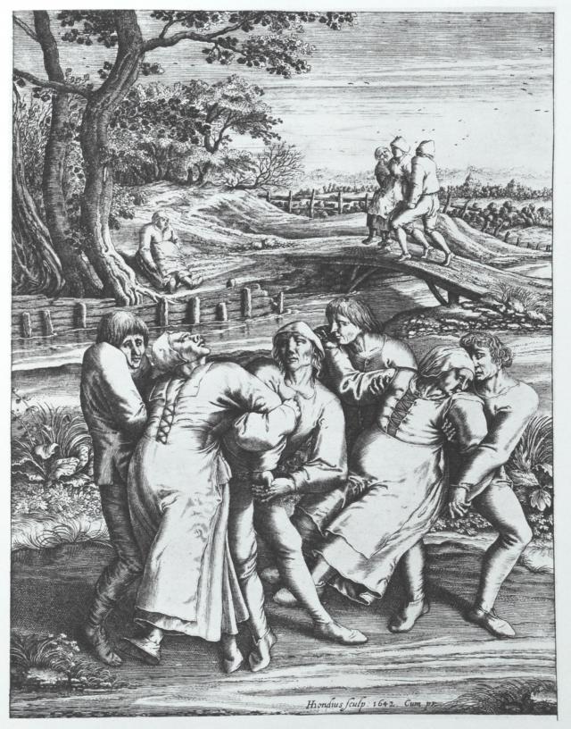 Obraz pędzla Pietera Bruegela, który był świadkiem jednej z plag tańca w Holandii
