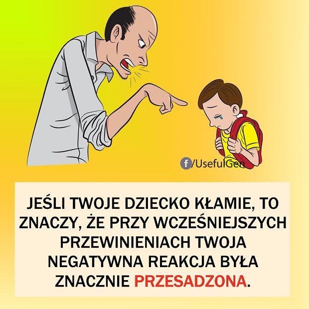 Jeśli twoje dziecko kłamie, to znaczy, że przy wcześniejszych przewinieniach twoja negatywna reakcja była znacznie przesadzona.