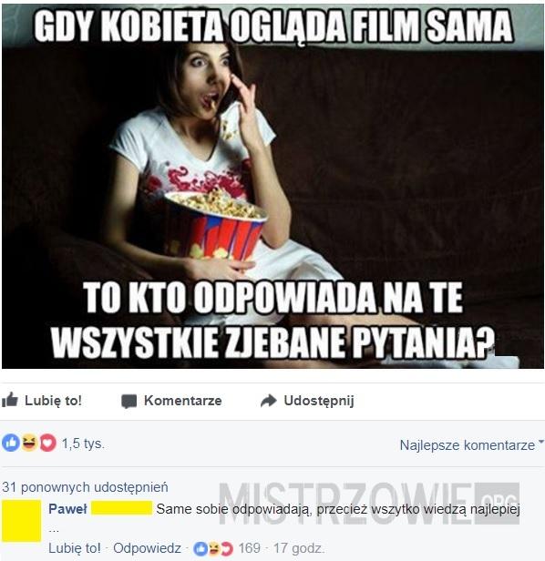 Gdy kobieta ogląda film sama –