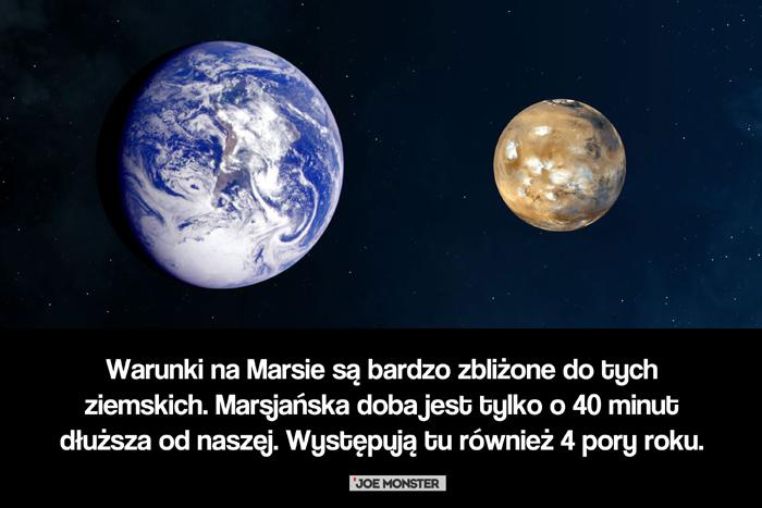 Warunki na Marsie są bardzo zbliżone na do tych ziemskich. Marsjańska doba jest tylko o 40 minut dłuższa od naszej. Występują tu również 4 pory roku.