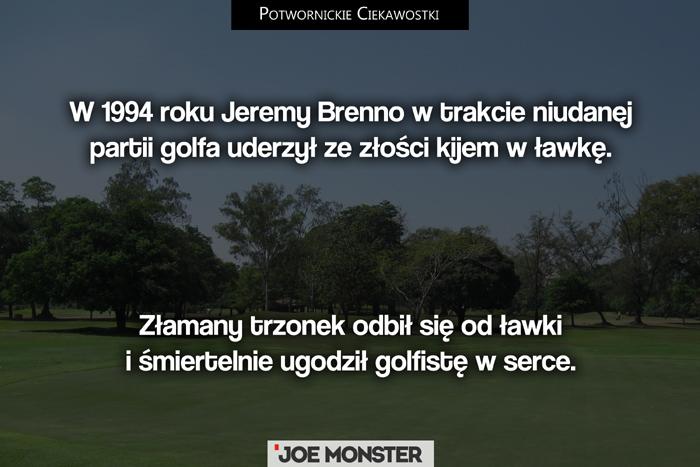 W 1994 roku Jeremy Brenno w trakcie partii golfa w złości uderzył kijem w ławkę. Złamany trzonek odbił się od ławki i śmiertelnie ugodził golfistę w serce.