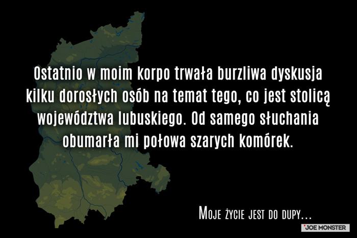 Ostatnio w moim korpo trwała burzliwa dyskusja kilku dorosłych osób na temat tego, co jest stolicą województwa lubuskiego. Od samego słuchania obumarła mi połowa szarych komórek.