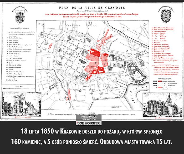 18 lipca 1850 w Krakowie doszło do pożaru, w którym spłonęło 160 kamienic, 5 osób poniosło śmierć. Odbudowa miasta trwała 15 lat.