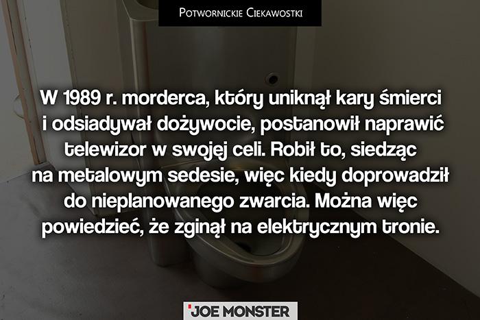 W 1989 r. morderca, który uniknął kary śmierci i odsiadywał dożywocie, postanowił naprawić telewizor w swojej celi. Robił to, siedząc na metalowym sedesie, więc kiedy doprowadził do nieplanowanego zwarcia, zginął na nomen omen elektrycznym krześle.