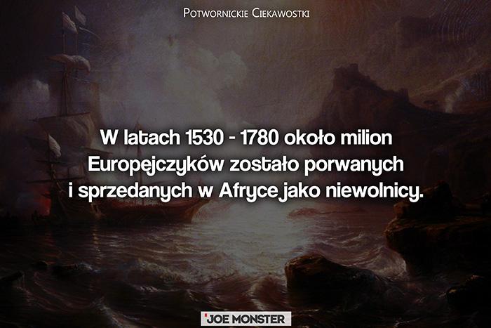 W latach 1530 - 1780 około milion Europejczyków zostało porwanych i sprzedanych w Afryce jako niewolnicy.