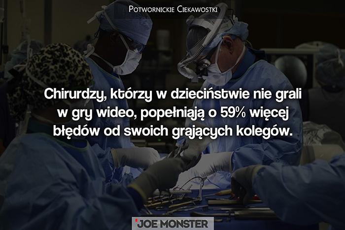 Chirurdzy, którzy w dzieciństwie nie grali w gry wideo, popełniają o 59% więcej błędów od swoich kolegów.