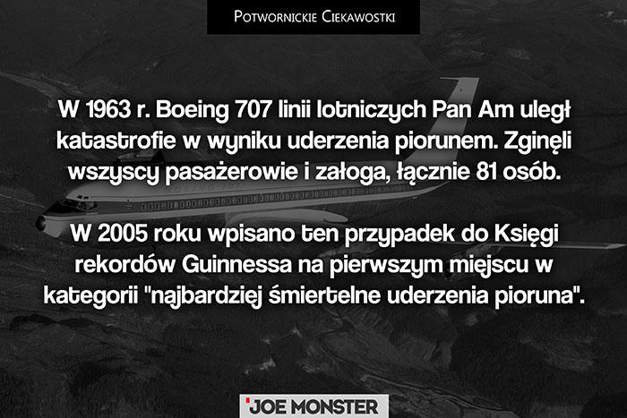 W 1963 r. Boeing 707 linii lotniczych Pan Am uległ katastrofie w wyniku uderzenia piorunem. Zginęli wszyscy pasażerowie i załoga, łącznie 81 osób. W 2005 roku wpisano ten przypadek do Księgi Rekordów Guinnessa na pierwszym miejscu w kategorii