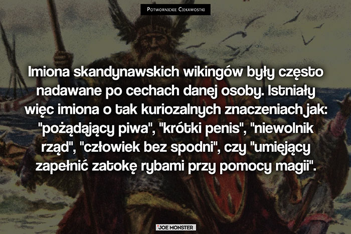 Imiona skandynawskich wikingów były często nadawane po cechach danej osoby. Istniały więc imiona o tak kuriozalnych znaczeniach, jak między innymi: