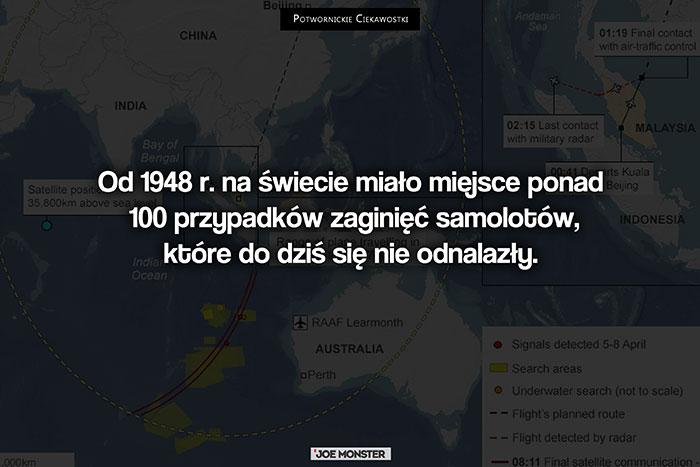 Od 1948 r. na świecie miało miejsce ponad 100 przypadków zaginięć samolotów, które do dziś się nie odnalazły.