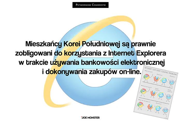 Mieszkańcy Korei Południowej są prawnie zobligowani do korzystania z Internet Explorera w trakcie używania bankowości elektronicznej i dokonywania zakupów on-line.