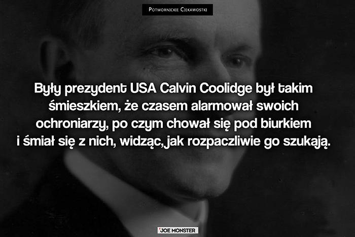 Były prezydent USA Calvin Coolidge był takim śmieszkiem, że czasem alarmował swoich ochroniarzy, po czym chował się pod biurkiem i śmiał się z nich, widząc, jak rozpaczliwie go szukają.