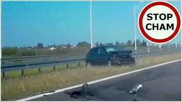 Ostre hamowanie na ekspresówce doprowadza do wypadku