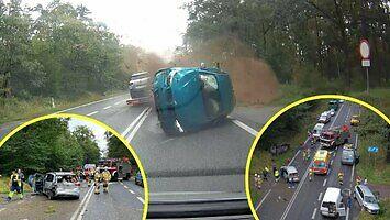Dramatyczny finał szalonej jazdy bmw. Młody kierowca skasował 6 samochodów!
