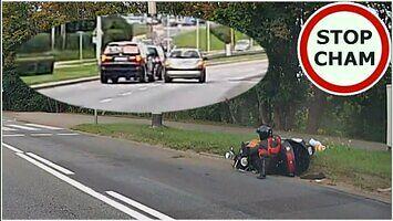 Kierowcy zablokowali BMW uciekające po zderzeniu z motocyklistą