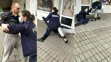 Interwencja policjantki za brak maseczki. Był pościg i walka w parterze