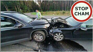 Wypadek - wyprzedzanie na skrzyżowaniu  i wyjazd na pewniaka z podporządkowanej