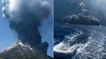 Potężny wybuch wulkanu na wyspie Stromboli i ucieczka turystów na łodzi