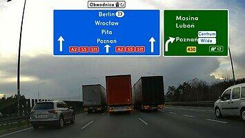 Wyprzedzanie trzech ciężarówek jadących obok siebie przez 6 km na A2 w Poznaniu