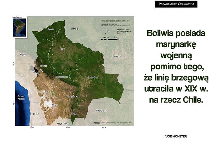 Boliwia posiada marynarkę wojenną pomimo tego, że linię brzegową utraciła w XIX w. na rzecz Chile.