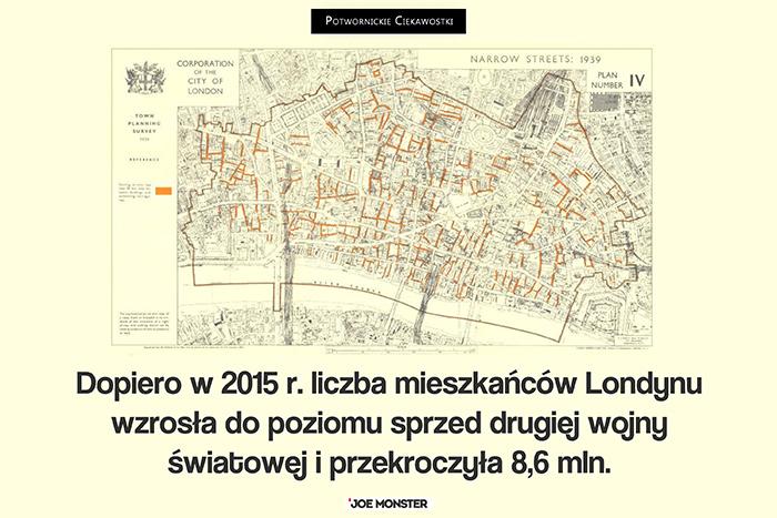 Dopiero w 2015 r. liczba mieszkańców Londynu wzrosła do poziomu sprzed drugiej wojny światowej i przekroczyła 8,6 mln.