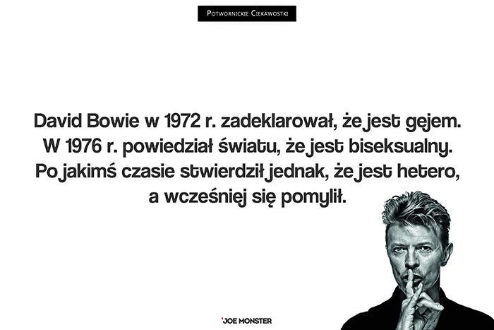 David Bowie w 1972 r. zadeklarował, że jest gejem. W 1976 r. powiedział światu, że jest biseksualny. Po jakimś czasie stwierdził jednak, że jest hetero, a wcześniej się pomylił.