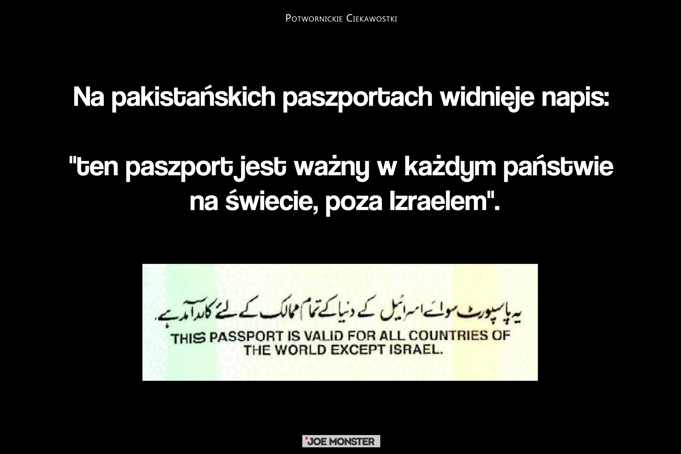 Na pakistańskich paszportach widnieje napis