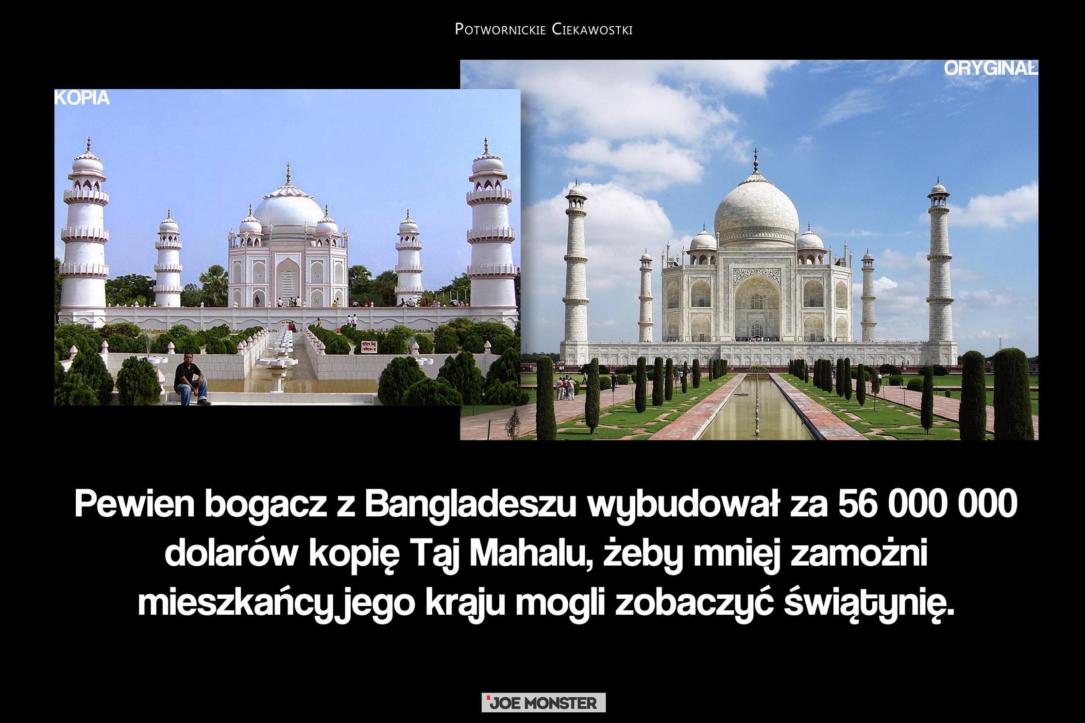 Pewien bogacz z Bangladeszu wybudował za 56 000 000 dolarów kopię Taj Mahalu, żeby mniej zamożni mieszkańcy jego kraju mogli zobaczyć świątynię.