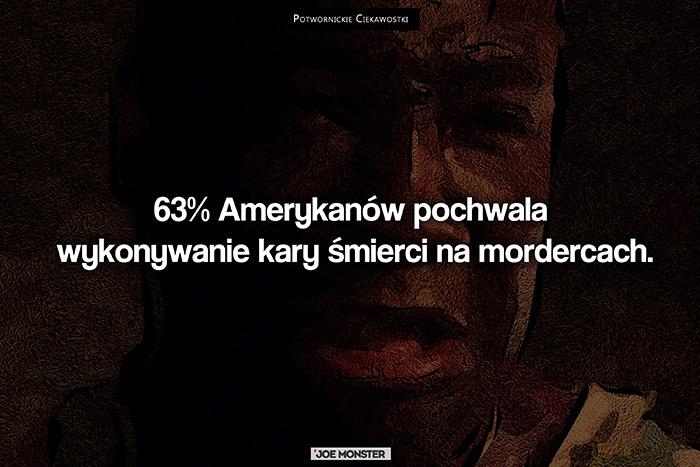 63% Amerykanów pochwala wykonywanie kary śmierci na mordercach.