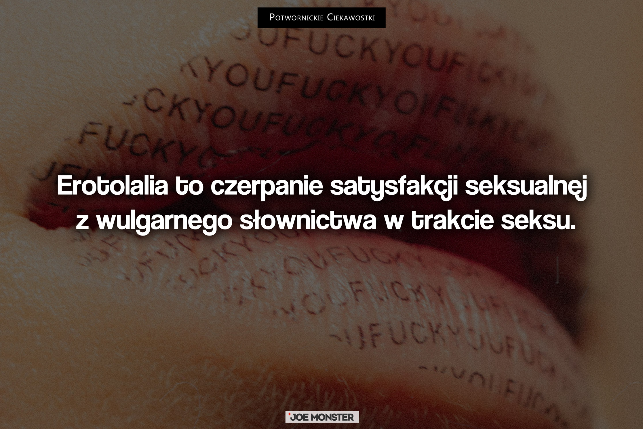 Erotolalia to czerpanie satysfakcji seksualnej z wulgarnego słownictwa w trakcie seksu.