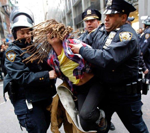 Police arresting girl
