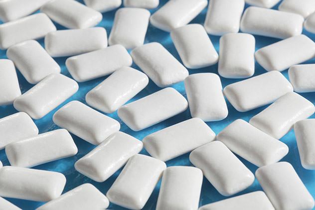 Chewing gums on blue