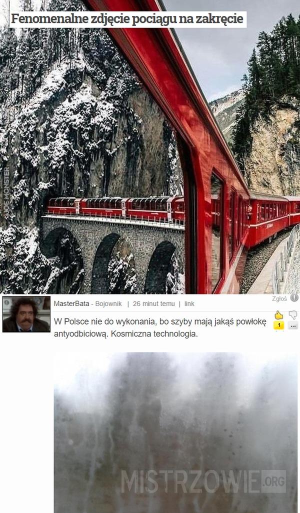 Fenomenalne zdjęcie pociągu na zakręcie –