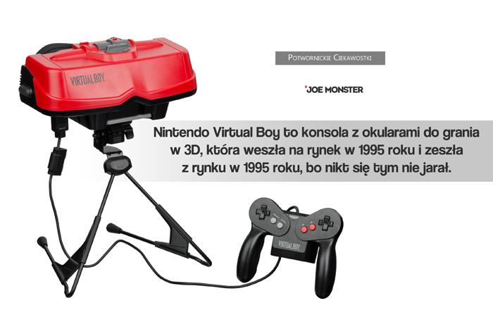 Nintendo Virtual Boy to konsola z okularami do grania w 3D, która weszła na rynek w 1995 roku i zeszła z rynku w 1995 roku, bo nikt jej nie chciał.