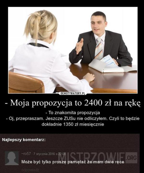 2400 zł na rękę –