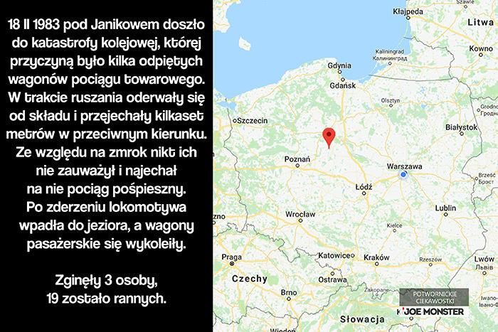 18 II 1983 pod Janikowem doszło do katastrofy kolejowej, której przyczyną było kilka odpiętych wagonów pociągu towarowego. W trakcie ruszania oderwały się od składu i przejechały kilkaset metrów w przeciwnym kierunku. Ze względu na zmrok nikt ich nie zauważył i najechał na nie pociąg pośpieszny. Po zderzeniu lokomotywa wpadła do jeziora, a wagony pasażerskie sięwykoleiły. Zginęły 3 osoby, 19 zostało rannych.