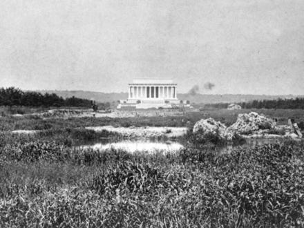 Mauzoleum Abrahama Lincolna przed powstaniem słynnego stawu przed nim