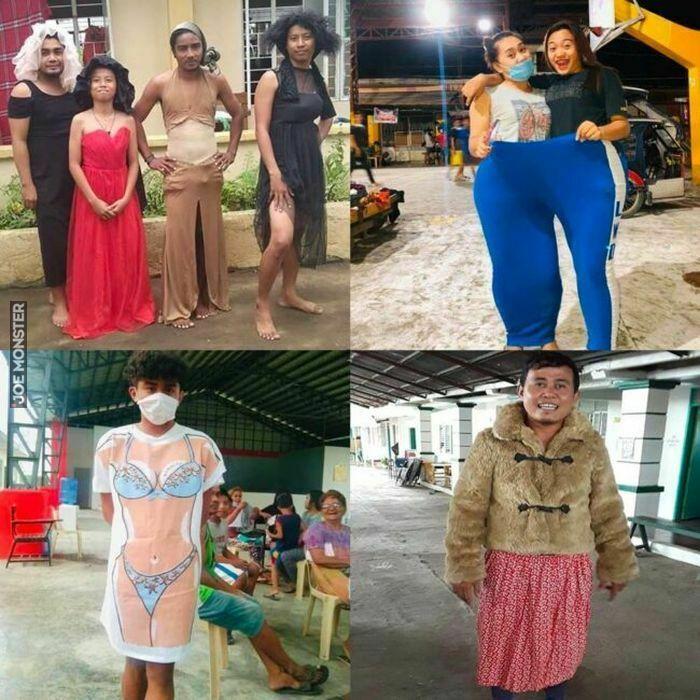 Filipińczycy po ewakuacji z powodu wybuchu wulkanu Taal z poczuciem humoru przymierzają ubrania, które dostali z pomocy humanitarnej