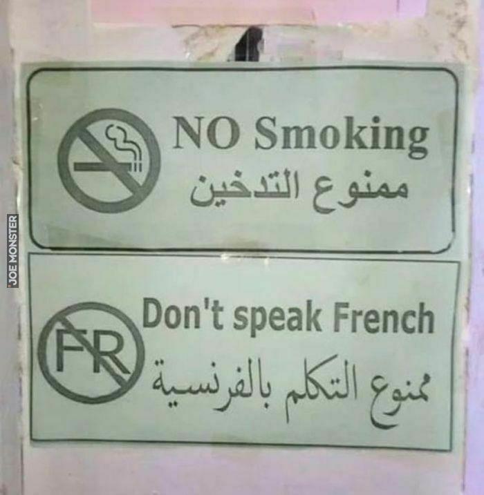 no smoking don't speak french