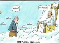Rysunek jaki pojawił się w sieci po śmierci Terry'ego Jonesa, jednego z twórców Monty Pythona