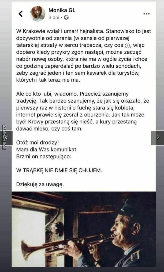 w krakowie wziął i umarł hejnalista