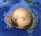 Porównanie wielkości Plutonu i Australii