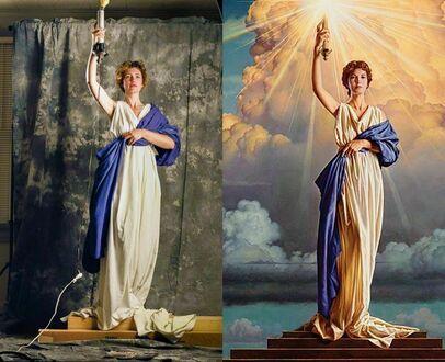 Jenny Joseph (28 lat) pozująca dla logo Columbia Pictures, 1992. To jedyne zdjęcie do którego kiedykolwiek pozowała