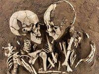 """""""Kochankowie z Valdaro"""" to para około 6000-letnich szkieletów znalezionych niedaleko Mantui, Włochy, 2007"""