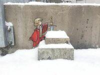 Król Artur i miecz w śniegu