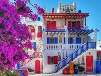 Tradycyjna atchitektura na Mykonos, Grecja
