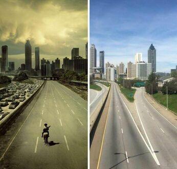 Plakat The Walking Dead i aktualne zdjęcie autostrady w Atlancie