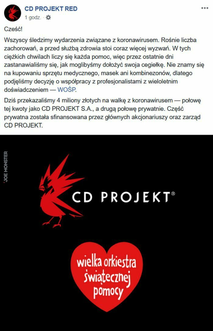cd projekt red cześć wszyscy śledzimy wydarzenia związane z koronawirusem