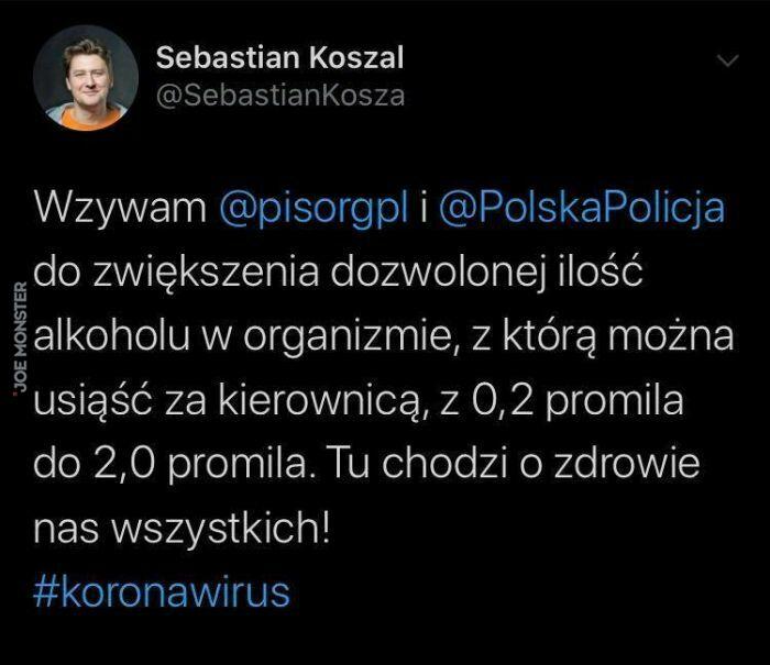 sebastian koszal wzywam pisorgpl i polskapolicja do zwiększenia dozwolonej ilości alkoholu