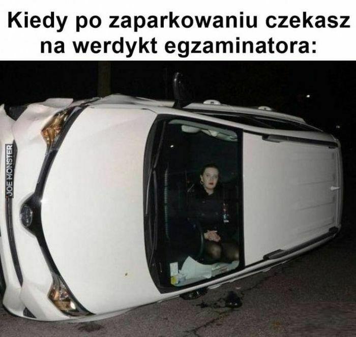 kiedy po zaparkowaniu czekasz na werdykt egzaminatora